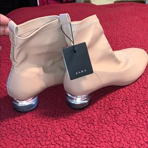 Zara Women Nude Ankle Boot with Clear Heel